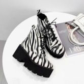 Lace-Up Front Round Toe Zebra Print Ankle Boots