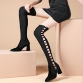 Chunky Heel Hollow Pointed Toe Slip-On Knee High Boots