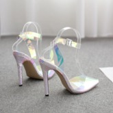 Ankle Strap Stiletto Heel Pointed Toe See-Through Sandals