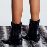 Pointed Toe Slip-On Chunky Heel Stone Pattern Ankle Boots