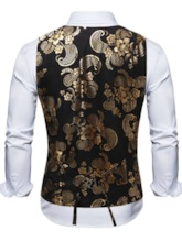 V-Neck Color Block Button Single-Breasted Men's Waistcoat