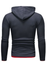 Print Pullover Color Block Slim Men's Hoodies