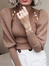 Casual Elegant Slim Nine Points Sleeve Women's Sweater