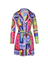 Notched Lapel Lace-Up Above Knee Long Sleeve A-Line Women's Dress