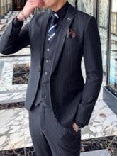 Pocket Vest One Button Stripe Men's Dress Suit