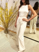 Column Bateau Neck Backless Wedding Jumpsuits 2019