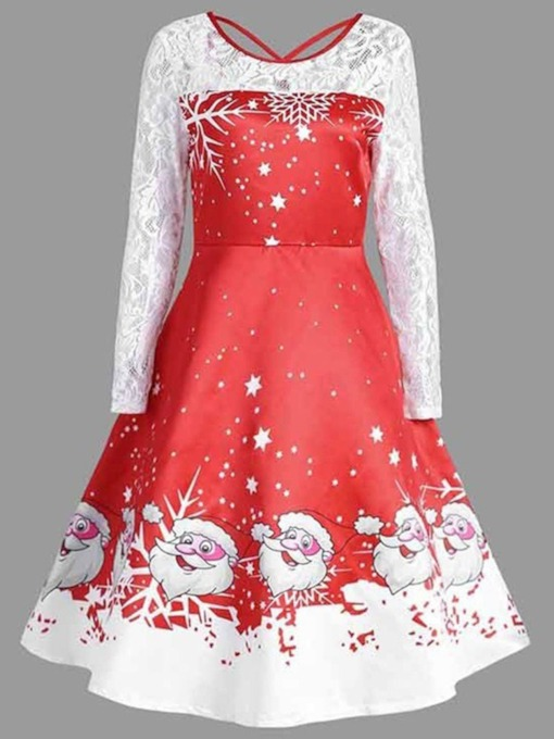 Christmas Mid-Calf Long Sleeve Round Neck Lace Spring Women's Dress