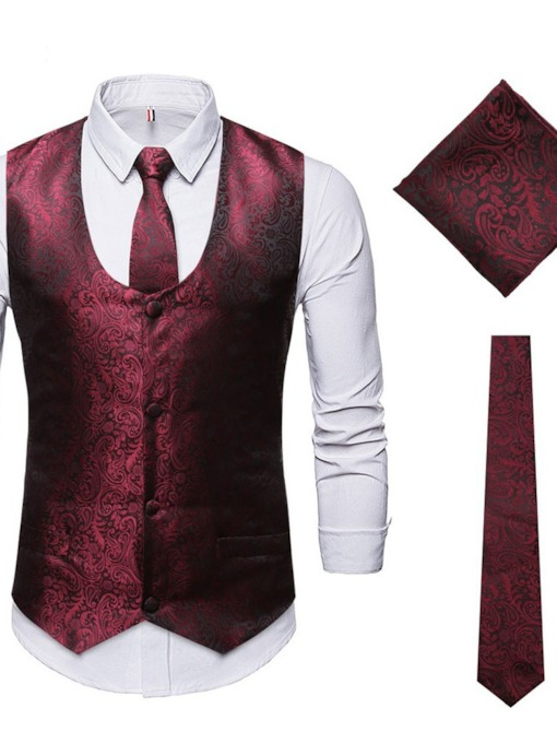 Casual Plain Vest Single-Breasted Men's Dress Suit
