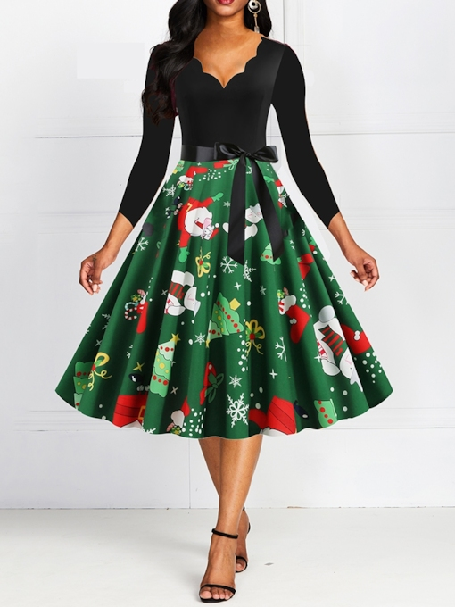 Christmas Patchwork Three-Quarter Sleeve V-Neck Mid-Calf Fall Women's Dress