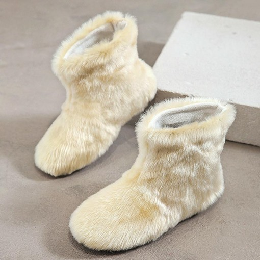 Plain Slip-On Round Toe Plush Winter Boots