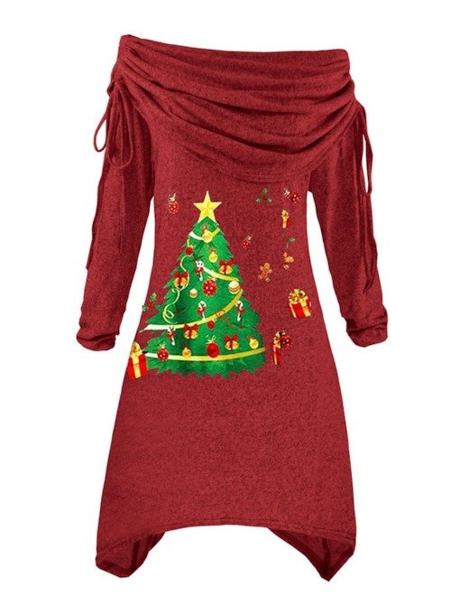 Christmas Long Sleeve Lace-Up Knee-Length Heap Collar Winter Women's Dress
