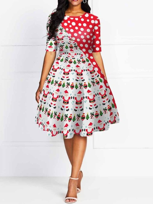 Christmas Round Neck Print Mid-Calf Short Sleeve Summer Women's Dress