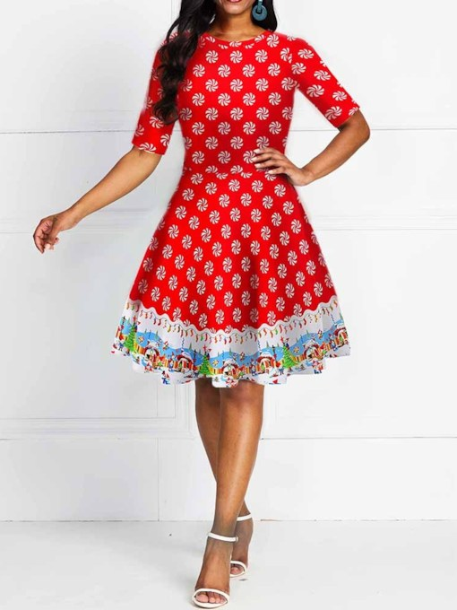 Christmas Knee-Length Print Round Neck Short Sleeve A-Line Women's Dress