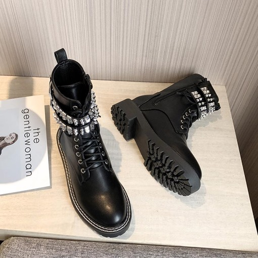 Rivet Round Toe Side Zipper PU Martin Boots