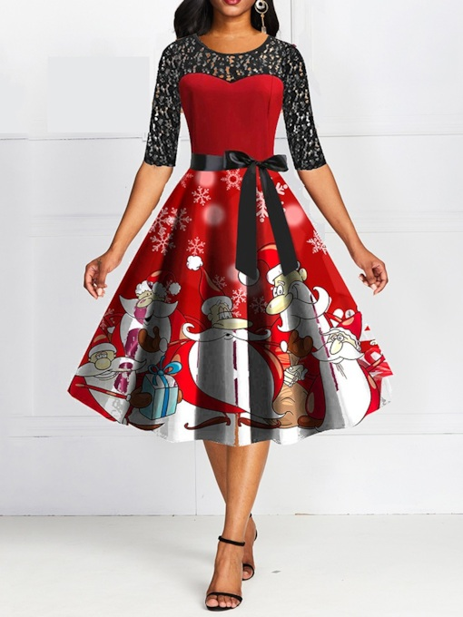 Christmas Half Sleeve Round Neck Patchwork Mid-Calf Summer Women's Dress