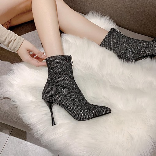 Pointed Toe Front Zipper Stiletto Heel Ankle Boots