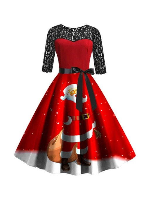 Christmas Lace Round Neck Mid-Calf Half Sleeve Party/Cocktail Women's Dress