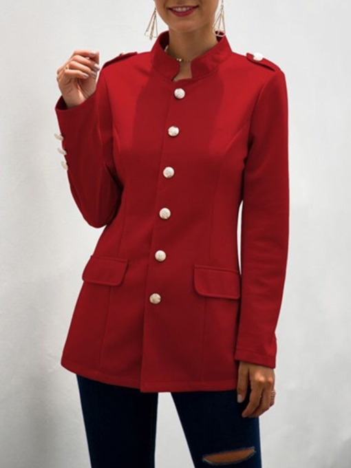 Slim Single-Breasted Button Mid-Length Women's Overcoat