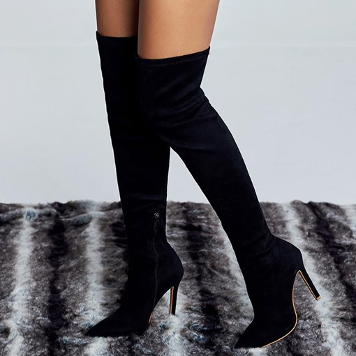 Side Zipper Plain Pointed Toe Stiletto Heel Knee High Boots