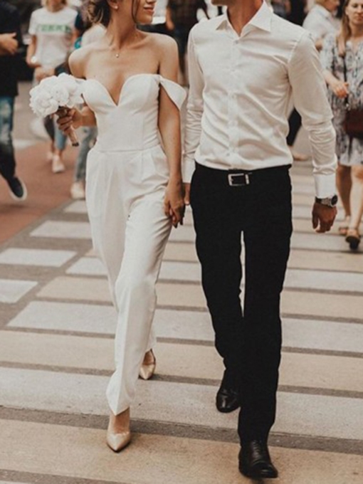 Column Ankle-Length Pockets Off-The-Shoulder Wedding Jumpsuits 2019