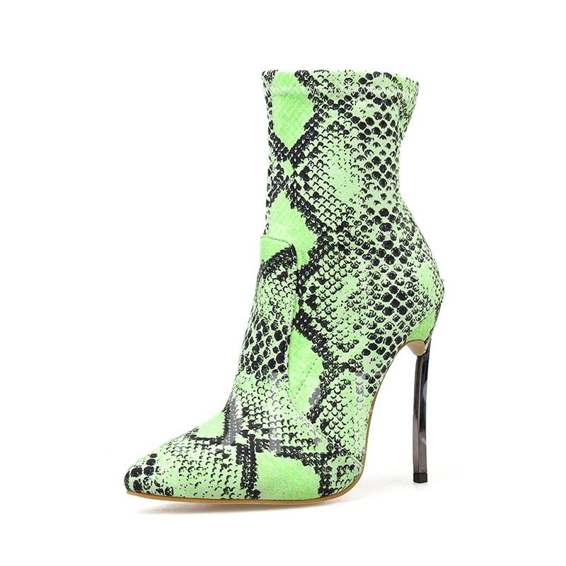 Neon Pointed Toe Slip-On Stiletto Heel Snake Skin Ankle Boots