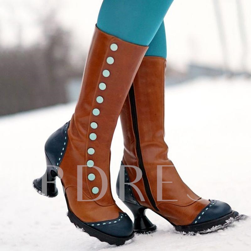 Color Block Shaped Heel Side Zipper Round Toe Mid Calf Boots