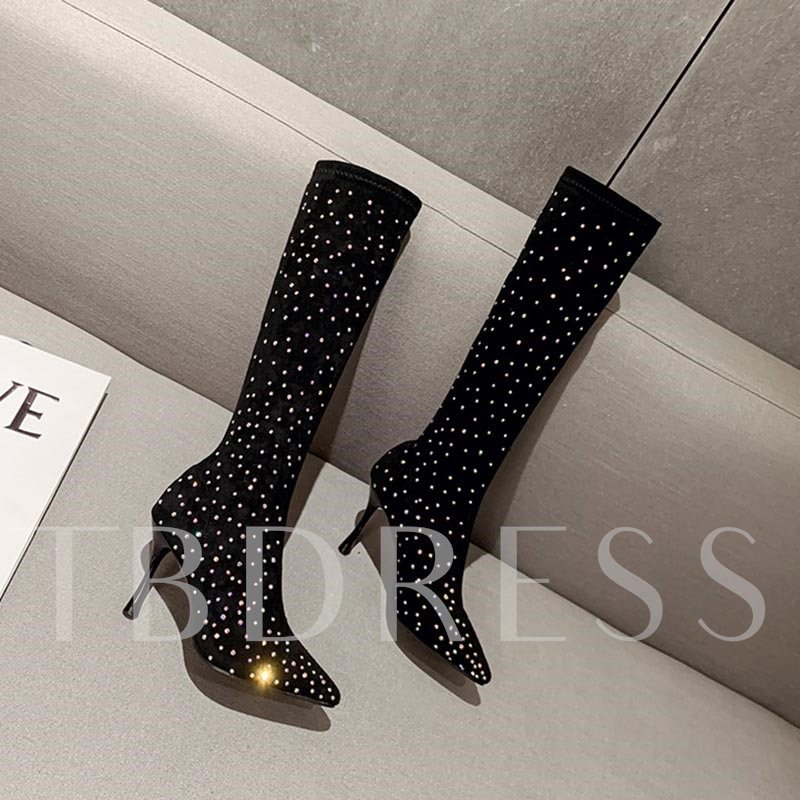 Stiletto Heel Pointed Toe Slip-On Rhinestone Knee High Boots