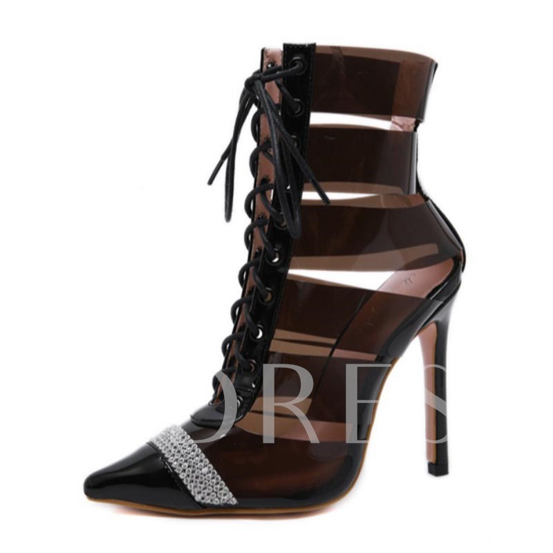 Lace-Up Front Pointed Toe Western Hollow Sexy Booties