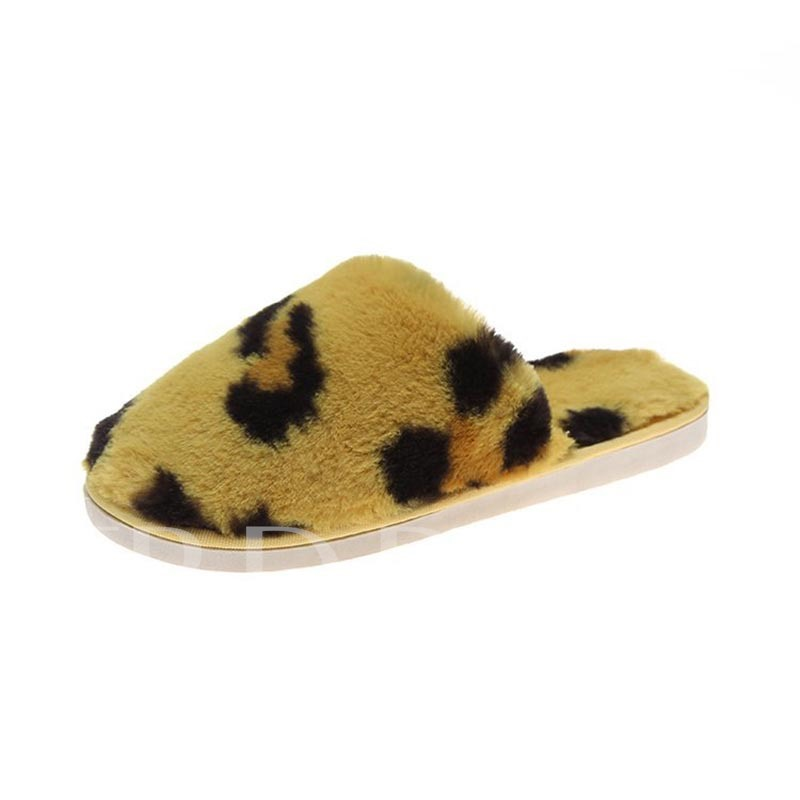 Closed Toe Slip-On Color Block Cow Print Winter Slippers
