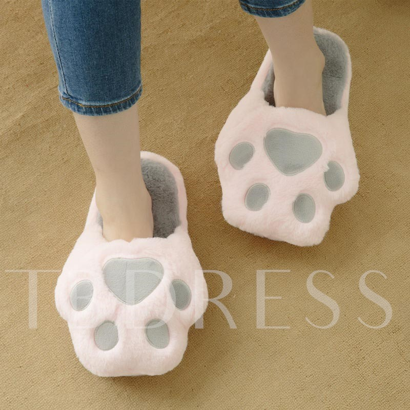 Closed Toe Paw Shape Slip-On Winter Slippers