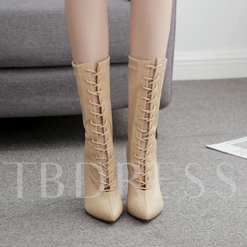 Lace-Up Front Plain Stiletto Heel Pointed Toe Cross Strap Boots