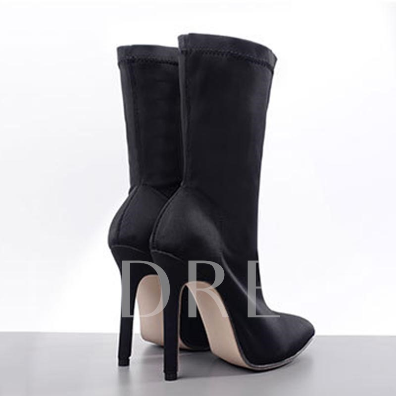 Plain Stiletto Heel Pointed Toe Slip-On Ankle Boots