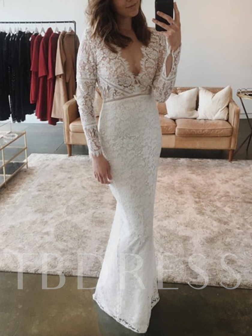 Deep V-Neck Sheath Lace Wedding Dress 2019