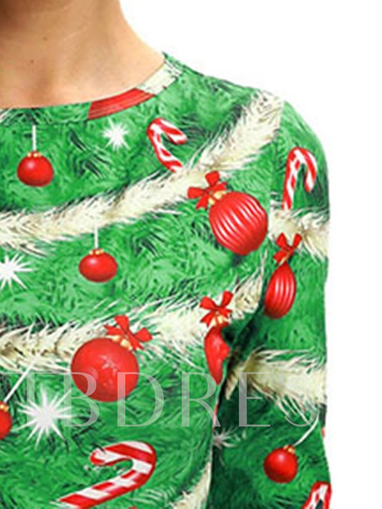 Christmas Above Knee Half Sleeve Round Neck Print Party/Cocktail Women's Dress