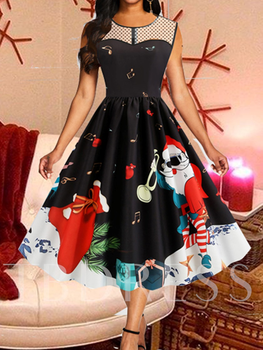 Christmas Sleeveless Mid-Calf Round Neck See-Through Expansion Women's Dress