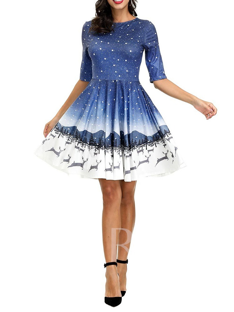 Christmas Print Mid-Calf Round Neck Short Sleeve Summer Women's Dress