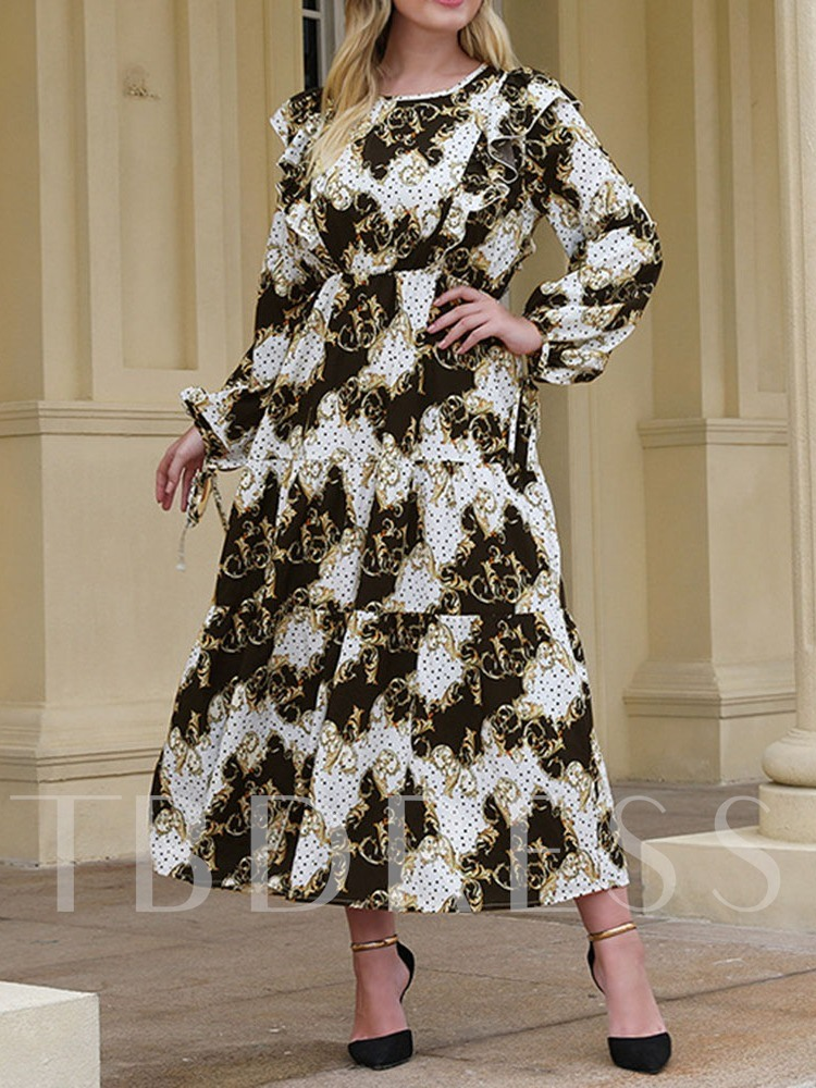 Plus Size Lace-Up Long Sleeve Mid-Calf Round Neck Pullover Women's Dress