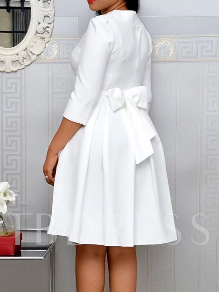 Plus Size Round Neck Three-Quarter Sleeve Knee-Length Bowknot Sweet Women's Dress