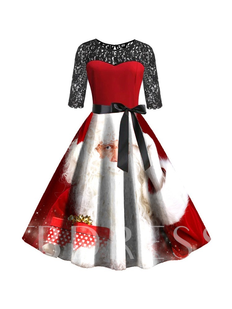 Christmas Round Neck Three-Quarter Sleeve Mid-Calf Lace Pullover Women's Dress