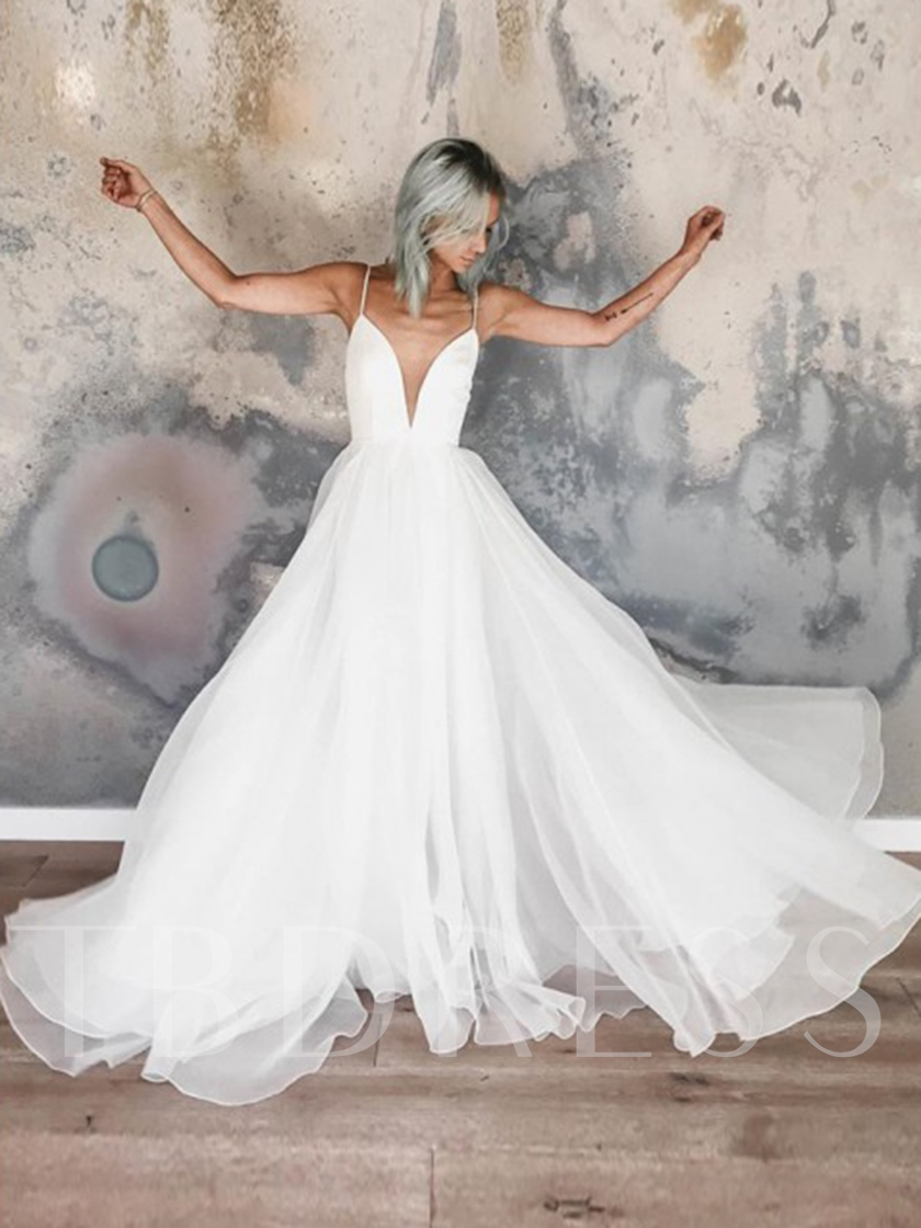A-Line Spaghetti Straps Garden Wedding Dress 2019
