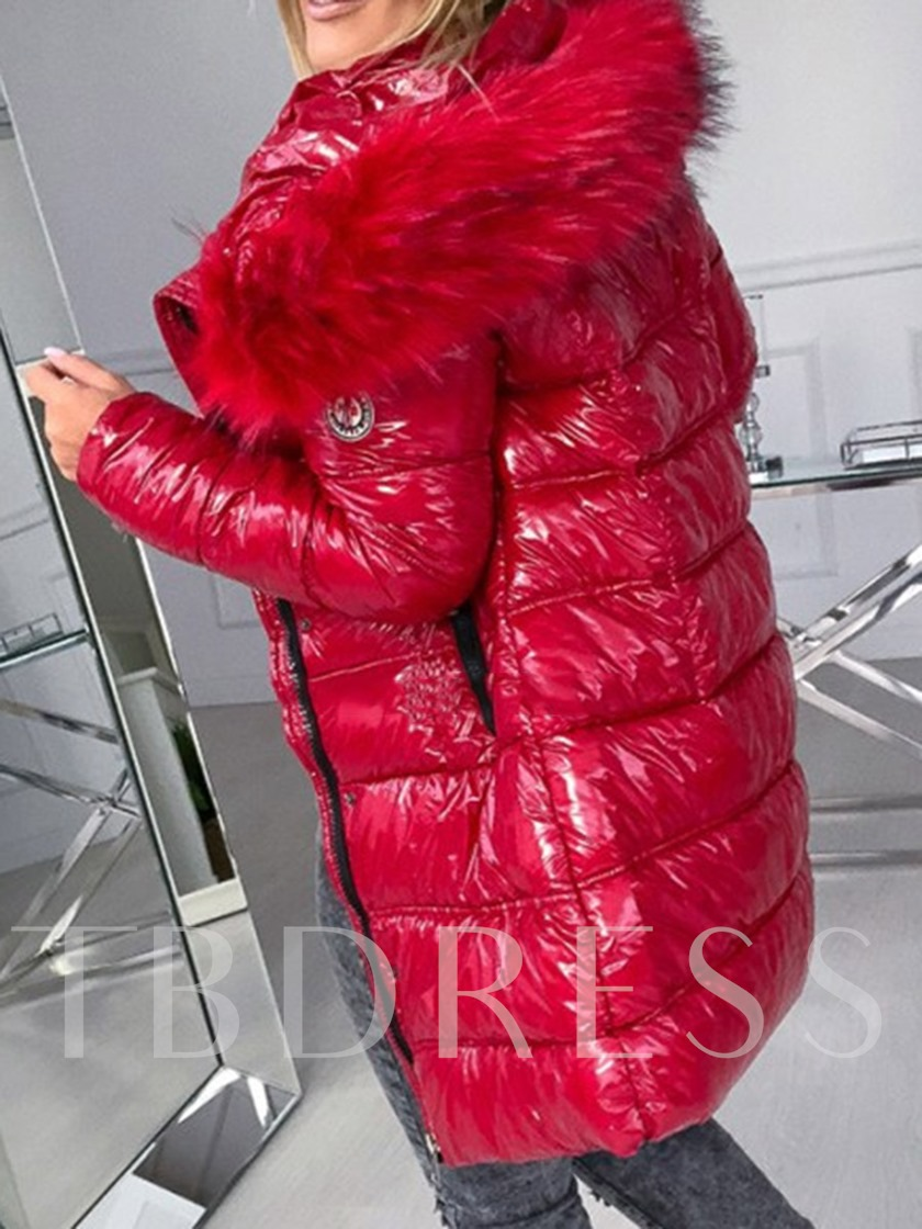 Patchwork Loose Zipper Thick Mid-Length Women's Cotton Padded Jacket