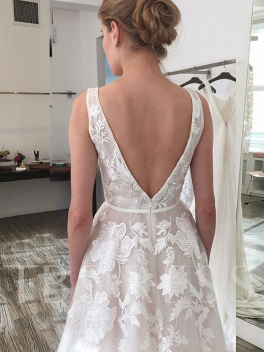 Lace Appliques V-Neck Wedding Dress 2019
