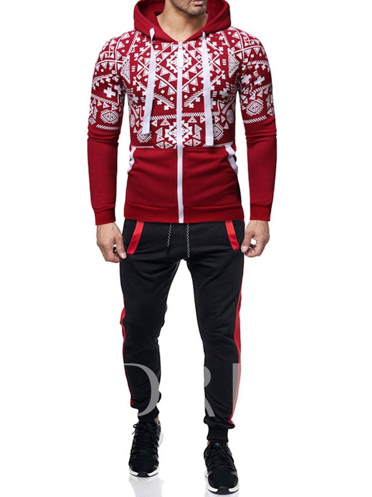 Christmas Pocket Color Block Casual Men's Outfit