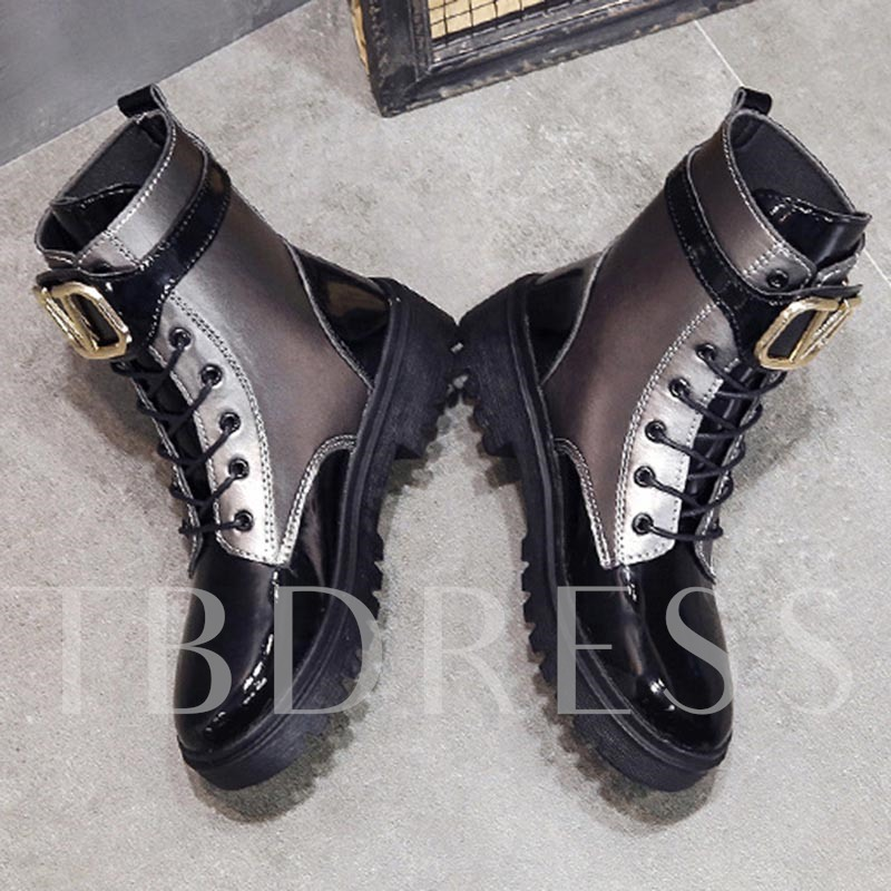 Block Heel Buckle Lace-Up Front Round Toe Martin Boots