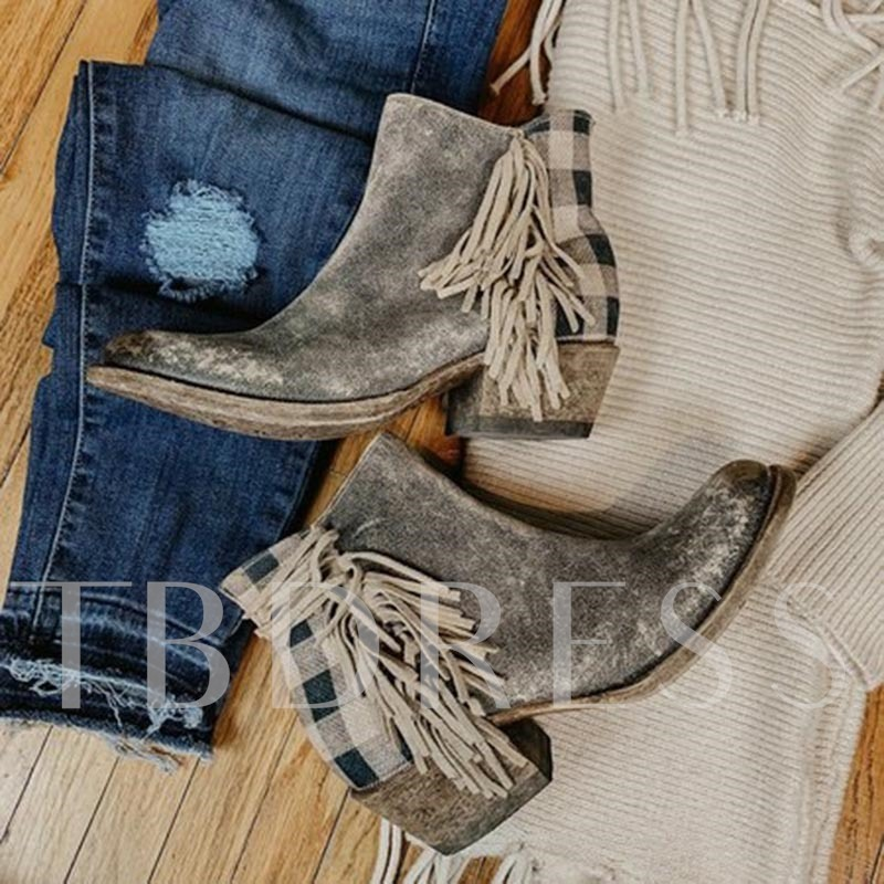 Round Toe Plaid Side Zipper Western Boots