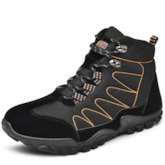 Round Toe Lace-Up Front Flat With Men's Hiking Boots