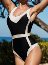 One Piece Sexy Color Block Swimwear