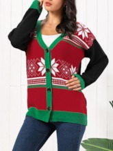 Thick Regular Single-Breasted Loose Christmas Women's Sweater