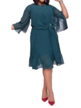 Plus Size Round Neck Long Sleeve Pleated Mid-Calf Pullover Women's Dress