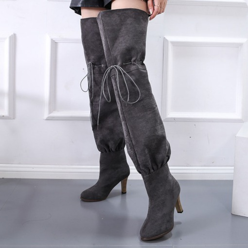 Lace-Up Front Round Toe Plain Chunky Heel Thigh High Boots